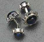 Rodium Plated Cufflinks with Navy Blue Cat's Eye T.P.