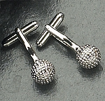 Rodium Plated Cufflinks with Golf Ball T.P.