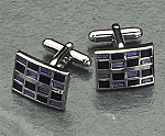 Rodium Plated Cufflinks with Colorful Square Pattern T.P.