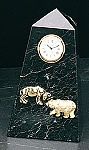 Bull and Bear Pyramid Tower Desk Clock with Genuine Marble Case T.P.