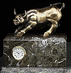 Antique Brass Bull Sculpture Desk Clock with Solid Marble Case T.P.
