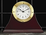 Gold Tone Metal Desk Clock on Mahogany Base T.P.