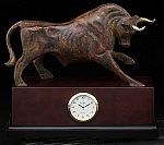 Brown Brass Bull Sculpture Desk Clock with Solid Wood Case T.P.
