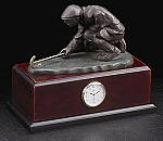Measuring Golfer Sculpture Desk Clock with Solid Wood Case T.P.