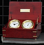 Rosewood Box Quartz Clock and Thermometer with Brass Accents T.P.
