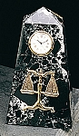 Scales of Justice Pyramid Tower Desk Clock with Genuine Marble Case T.P.