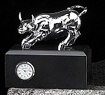 Silver Brass Bull Sculpture Desk Clock with Solid Black Case T.P.