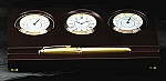 Weathermaster Brass Clock with Thermometer and Hygrometer on Mahogany Base T.P.