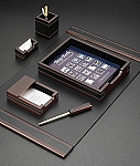 6 Piece Genuine Wood and Black Leather Desk Set T.P.