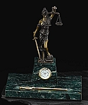 Legal Pen Holder and Clock Lady Justice Bronze Sculpture on Green Marble Base T.P.