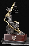 Seated Lady Justice Bronze Sculpture on Rose Wood Base T.P.