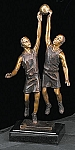 Basketball Players Bronzed Metal Sculpture on Marble Base T.P.