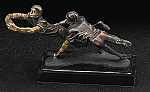 Football Players Bronzed Metal Sculpture on Marble Base T.P.