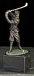 Small Classic Man Golfer Bronzed Metal Sculpture on Marble Base T.P.
