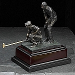Small Double Golfers Bronzed Metal Sculpture on Wood Base T.P.