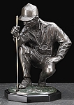 Kneeling Golfer Bronzed Metal Sculpture on Wood Base T.P.