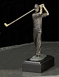 Small Man Golfer Bronzed Metal Sculpture on Marble Base T.P.