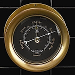 French Antiqued Brass Barometer with Beveled Glass T.P.