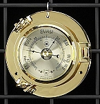 German Brass Porthole Barometer with Beveled Glass T.P.