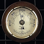 Large Brass French Barometer Thermometer on Cherry Wood Base T.P.