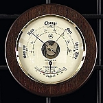Brass French Barometer Thermometer on Cherry Wood Base T.P.