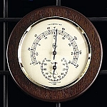Brass Thermometer and Hygrometer on Cherry Wood Base T.P.