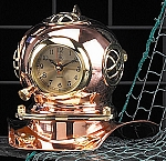 Copper and Solid Brass Diver's Helmet Clock