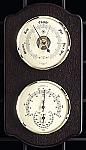 Brass French Barometer and Thermometer Hygrometer on Ash Wood Base T.P.