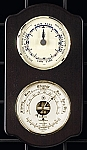 Brass Tide Wall Clock and Barometer Thermometer on Ash Wood Base T.P.