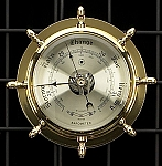 German Brass Ship's Wheel Barometer with Beveled Glass T.P.