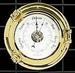 Medium Brass Porthole Wall Barometer with Beveled Glass T.P.