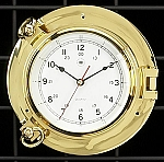 Medium Brass Porthole Wall Clock with Beveled Glass T.P.