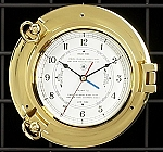 Medium Brass Porthole Wall Tide and Time Clock with Beveled Glass T.P.