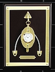 Solid Brass Pulley Wall Clock on Mahogany Base T.P.