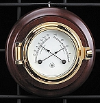Brass Porthole German Barometer and Thermometer on Teak Wood Base T.P.