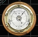 Brass Porthole German Barometer on Oak Wood Base T.P.