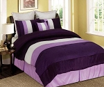 King Cream Lilac And Purple Tones Micro Faux Silk Comforter Set