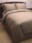 8 Piece Taupe Checkered Egyptian Cotton Down Alternative Bed In A Bag