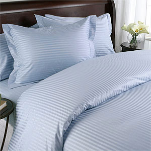 Light Blue Damask Stripe 600 Thread Count Egyptian Cotton