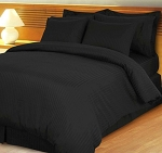 Black Damask Stripe 600 Thread Count Egyptian Cotton Down Alternative Comforter Set