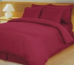 Burgundy Damask Stripe 600 Thread Count Egyptian Cotton Down Alternative Comforter Set