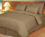 Taupe Damask Stripe 600 Thread Count Egyptian Cotton Down Alternative Comforter Set