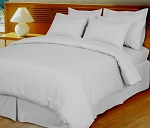 White Damask Stripe 600 Thread Count Egyptian Cotton Down Alternative Comforter Set