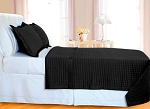 Black Checkered Egyptian Cotton 400 Thread Count Coverlet Set