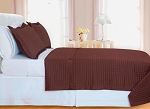 Chocolate Checkered Egyptian Cotton 400 Thread Count Coverlet Set