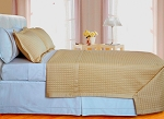 Gold Checkered Egyptian Cotton 400 Thread Count Coverlet Set