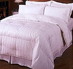 Goose Down King/California King 300 Thread Count Egyptian Cotton Comforter Stripe White