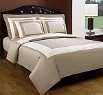 5 Piece Full/Queen Beige And Ivory 300 Thread Count Egyptian Cotton Duvet Cover Set