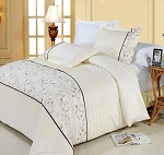 Anna Embroidered King/California King Egyptian Cotton 3 Piece Duvet Cover Set