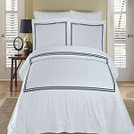 Maya Black And White Embroidered King/California King Egyptian Cotton 3 Piece Duvet Cover Set
